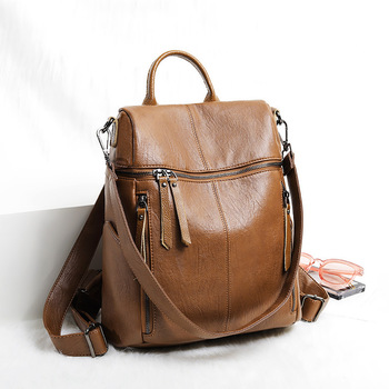 Genuine Leather Backpack Women 2020 New Fashion Soft Leather Anti Theft Backpack Travel School Bags