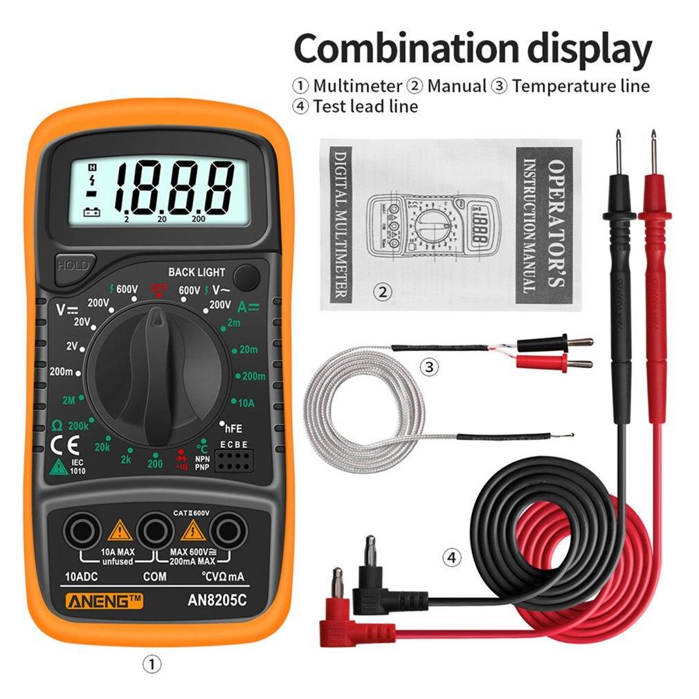 ANENG AN8205C multimètre numérique ampèremètre ca/cc Volt Ohm testeur Profession Multimetro avec Thermocouple LCD rétro-éclairage affichage