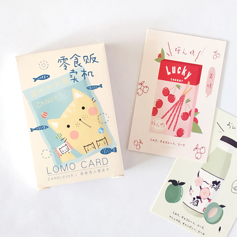 28 Sheets/Set Cute Cat And Snack Lomo Card Mini Paper Postcard/Greeting Card/Birthday Gift Card Message Card