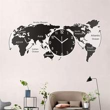 Unique Acrylic Wall Clock Creative World Map Wall Hanging Clock For Office Home Living Room Wall Art Home Decorations