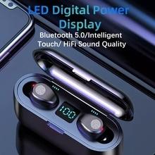 цена на TWS bluetooth5.0 F9 Wireless Headphones stereo earphones  HIFI mini in-ear support IOS/android phones