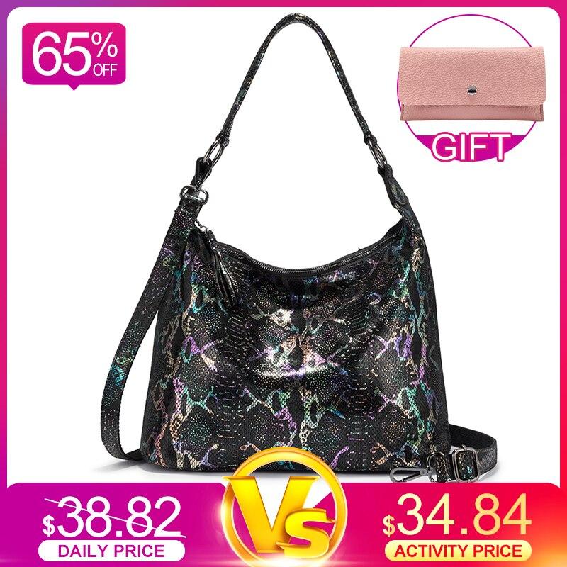 REALER Shoulder Bags For Women 2020 Genuine Leather Luxury Handbag Designer Large Hobos Bag With Tassel Animal Prints Women Bag