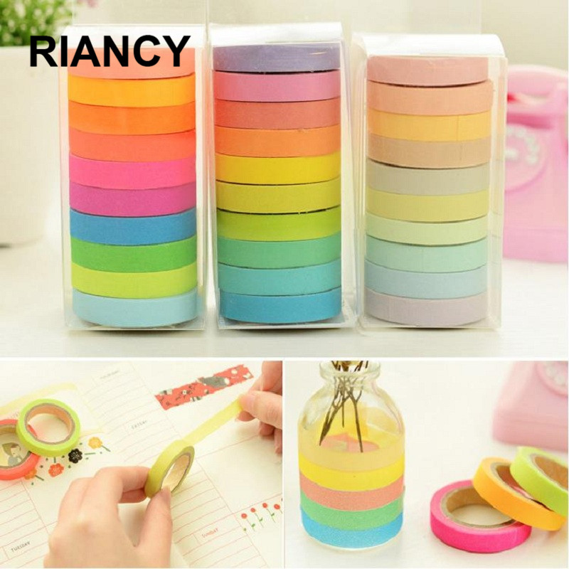 10pcs Candy Kawaii DIY Decoration Paper Washi Tape Scrapbooking Masking Tape Stickers Scrapbooking Washitape Washy Tape 02448
