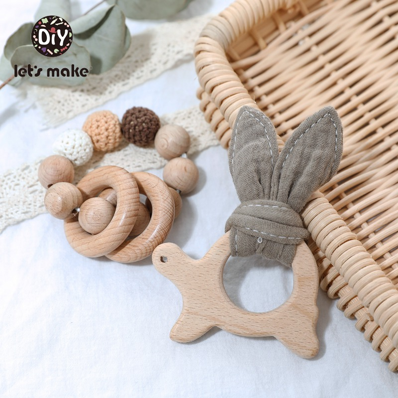 Let's Make Baby Teether Crochet Beads Beech Cotton 2pcs/set Bracelet Wooden Rodent Ring LaTeX Free Animal Baby Teething Toys