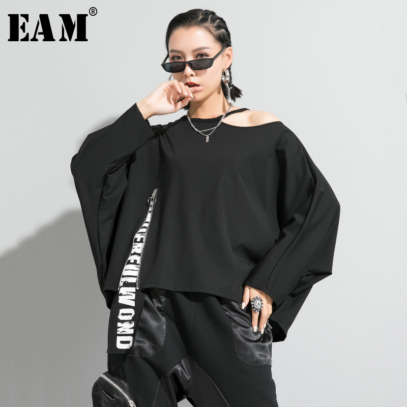 [EAM] Women Black Letter Printed Off Shoulder Big Size T-shirt New Round Neck Long Sleeve  Fashion Spring Autumn 2020 1R647