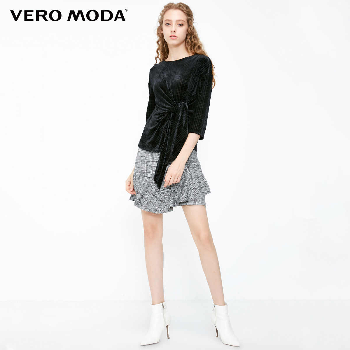 Vero Moda נשים סתיו Slim Fit סביב צוואר רצועת 3/4 שרוול חולצה | 318330505