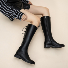 thigh high boots Flat bottom Black Lacing knee women PU leather Fashion Zipper Knee High Boots Womens Winter