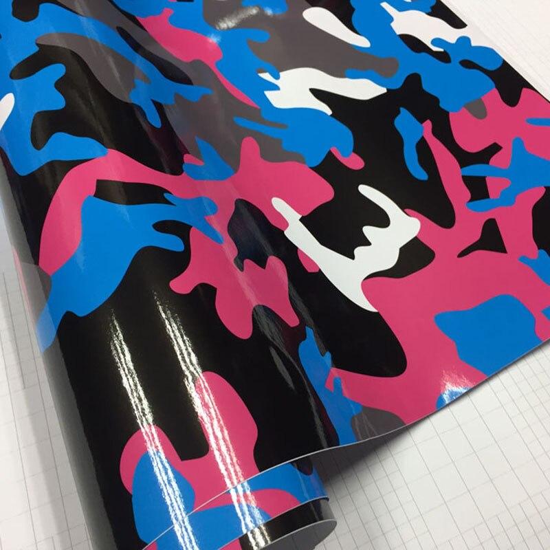 הגעה חדשה שחור כחול אדום Camo ויניל סרט הסוואה לעטוף מכונית סרט עבור רכב סטיילינג אופני מחשב מחשב נייד קטנוע אופנוע