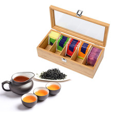 цена на Bamboo System Tea Box System Tea Bag Jewelry Organizer Storage Box 5 Compartments Tea Box Organizer Wood Sugar Packet Container