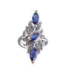 Clássico moda anel de casamento requintado azul zircão feminino anel 2020 moda nova jóias de casamento presente de ano novo