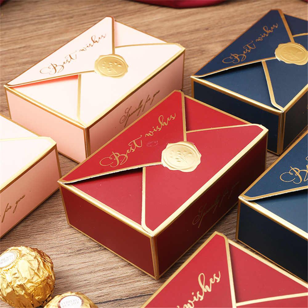 20 10pc Beste Wünsche Bronzing Geschenk Boxen Candy Kuchen Papier Box Cookie  Schokolade Makronen Verpackung Box Hochzeit Geburtstag Party Favors