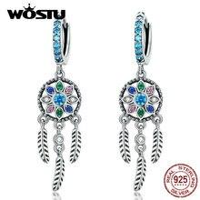 WOSTU Hot Sale S925 Dreamcatcher Earrings Authentic 925 Sterling Silver Drop Earrings For Women Wedding Party Gift CQE713