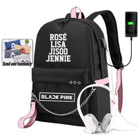 BLACKPINK LISA Backpack for Girls School Students Usb Charging Shoulders Backpacks Teenagers Large Capacity Canvas Bags