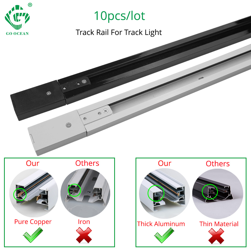 Track Rail 1m Track Light Fitting Aluminum 1 meter 2 wire Connector System Tracks Fixture black white Universal  Rails 10pcs lot