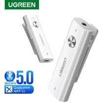 Ugreen bluetooth receptor 5.0 adaptador de áudio sem fio de alta fidelidade suporte microfone 3.5mm aux bluetooth aptx ll adaptador com bateria
