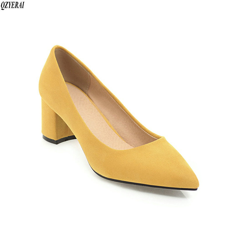 Spring new style suede women Pumps single <font><b>shoes</b></font> pointed, 6cm heels party <font><b>sexy</b></font> women's <font><b>shoes</b></font> <font><b>large</b></font> <font><b>size</b></font> 34-43 image