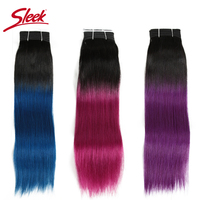 Sleek Double Drawn Remy Peruvian Straight Human Hair Ombre Color 1B/Pink and 1B Purple Blue Blonde 613 Bundles Hair Extension