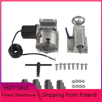 57 step motor 100MM 4 jaw chuck 70mm Center height A 4th rotary axis tailstock for cnc milling machine 6040 wood router 3040 4 jaw rotary axis with tailstock for cnc milling drilling machine