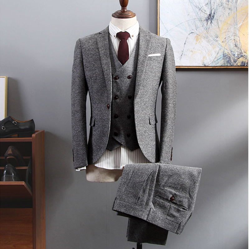 Gray Casual Classic Tailor Custom Tweed Formal Business Men Suit Set Blazer Wedding Prom Slim Fit Jacket Big Size Tuxedo 3Pieces