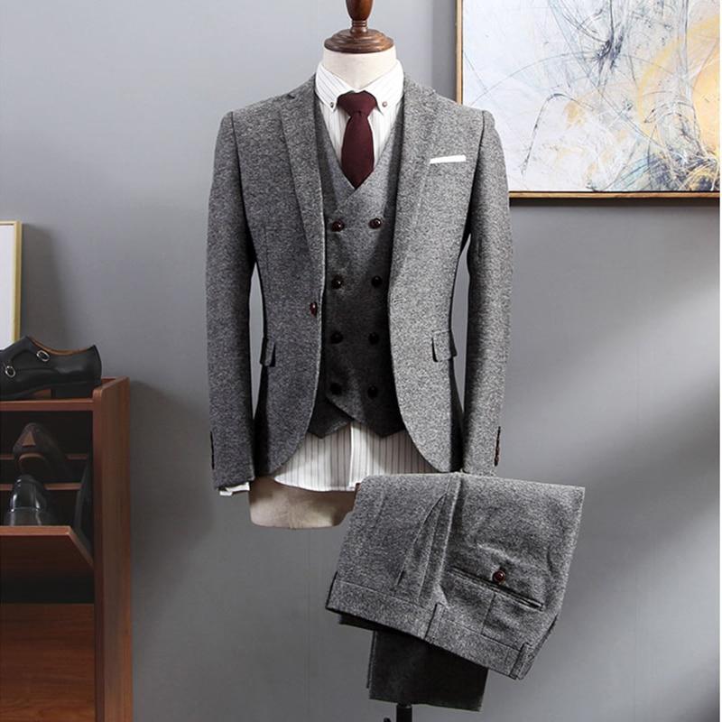 Gray Casual Classic Tailor Custom Tweed Formal Business Men Suit Set Blazer Wedding Prom Slim Fit Jacket Big Size Tuxedo 3Pieces