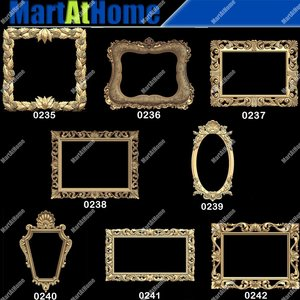 3D STL Model Frames and Mirrors for CNC Router Engraving & 3D Printing Relief Support ZBrush Artcam Aspire Cut3d