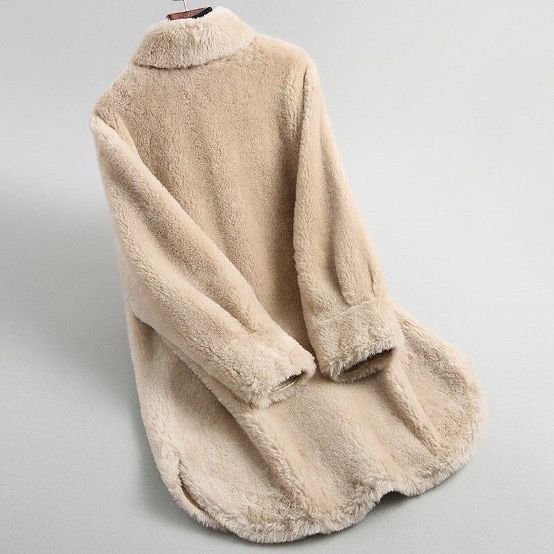 Fur Real Korean Coat Winter Coat Women Clothes 2020 Elegant Women's Fur Coat Female Real Wool Jacket Outerwear 19002 's