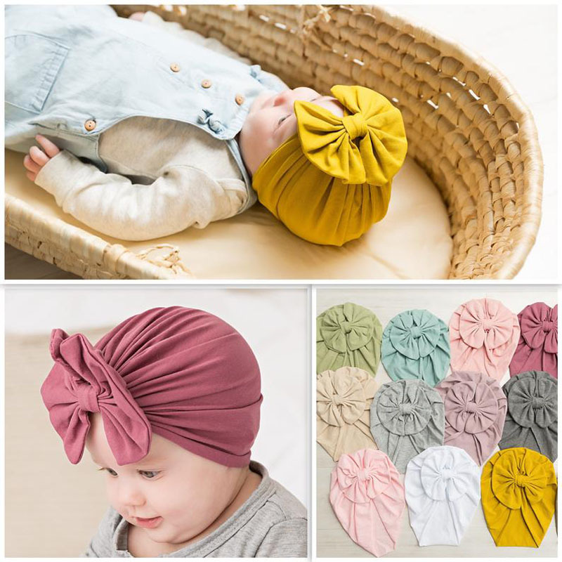 Bowknot Baby Headband Hat Stretchy Turban Headband Infant Head Wrap Haarband Beanie Hat Baby Girl Headwear Baby Hair Accessories