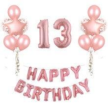 Ensemble de ballons pour anniversaire, 30 pièces, 13, 15, 18, 21, 30h, couleur argent, or Rose, décoration de fête pour adultes
