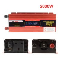 XUYUAN 2000W Car Power Inverter DC 12V To AC 220V Converter LCD Display USB Charger Adapter Portable Auto Modified Save UK