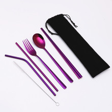 6PCS Portable Cutlery Stainless Steel Set Straight Bent Metal Straws Chopsticks Fork Spoon for Travel