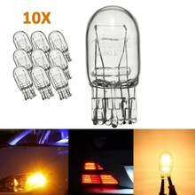 Ampoule de voiture en verre transparent T20 W21 7443, Double Filament DRL 5W, lumière automobile (10 pièces)