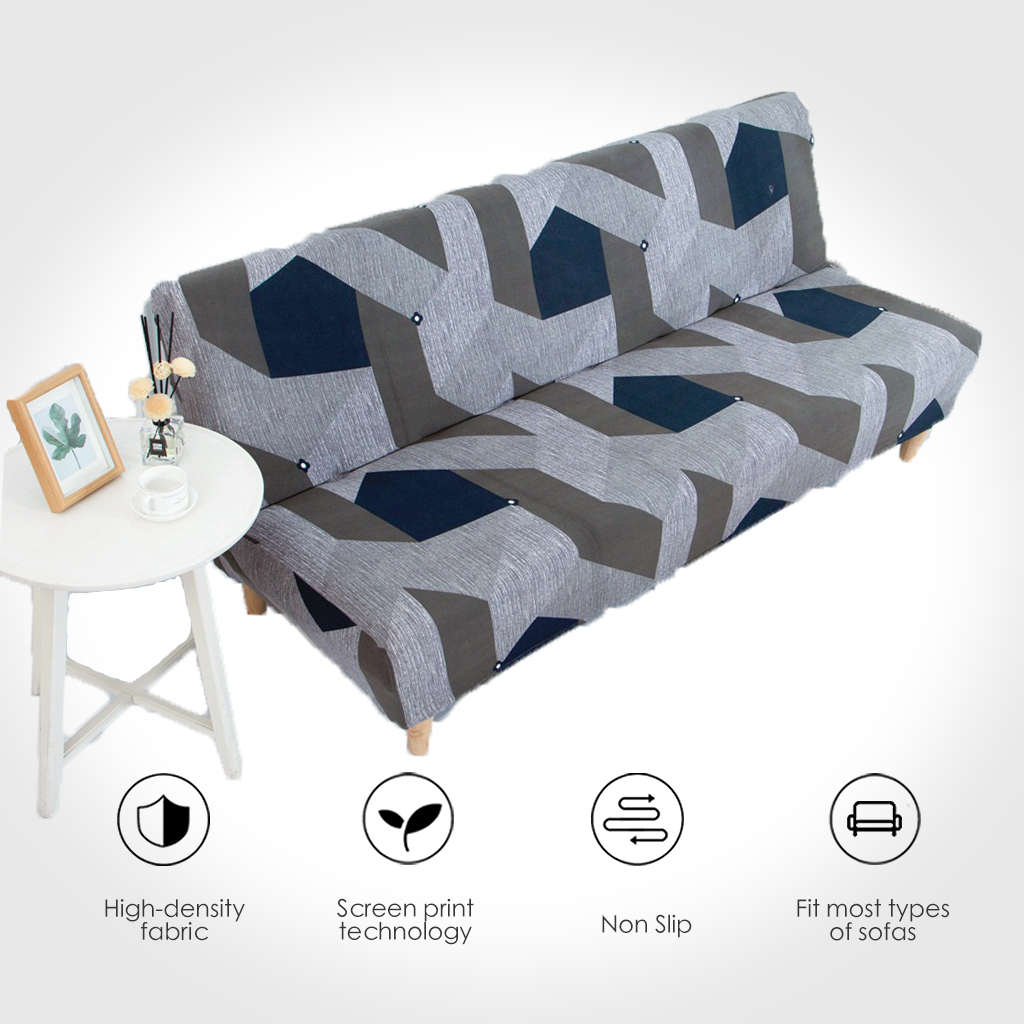 Universal Size Printed Sofa Bed Cover Armless Elastic Couch Covers Folding Seat Slipcover Washable Stretch Covers Cheap Hotel