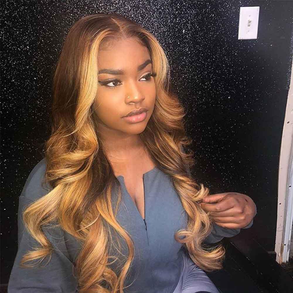 Miel Blonde pleine dentelle perruques de cheveux humains couleur 360 dentelle frontale perruque Ombre 13x6 dentelle avant perruques de cheveux humains perruque de dentelle préplumée