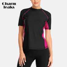 Charmleaks Women Short Sleeve Rashguard Shirt Swimsuit Patchwork Swimwear Surfing Top Running Biking Rash Guard UPF50+