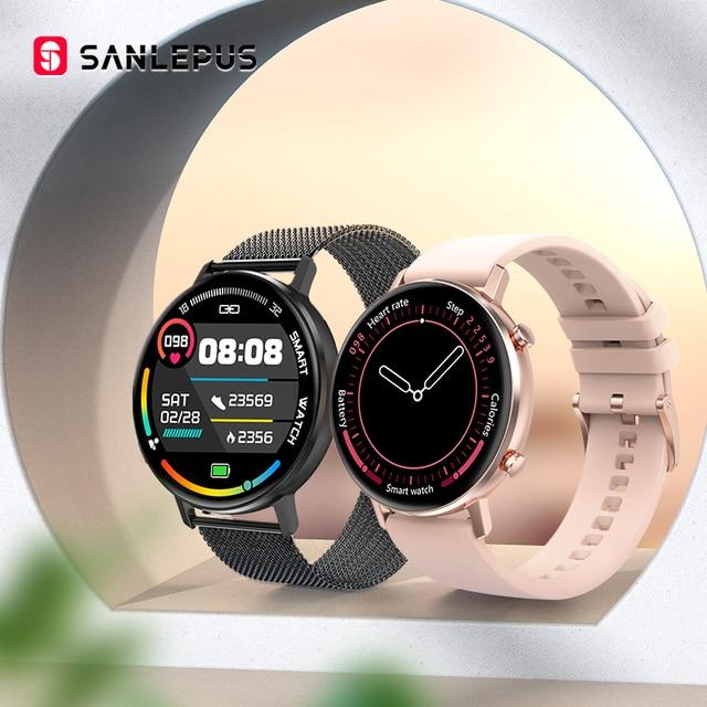 SANLEPUS ساعة ذكية للرجال والنساء ، سوار رياضي مع مراقبة ضغط الدم والأكسجين في الدم لأجهزة Apple و Android ، جديد لعام 2021
