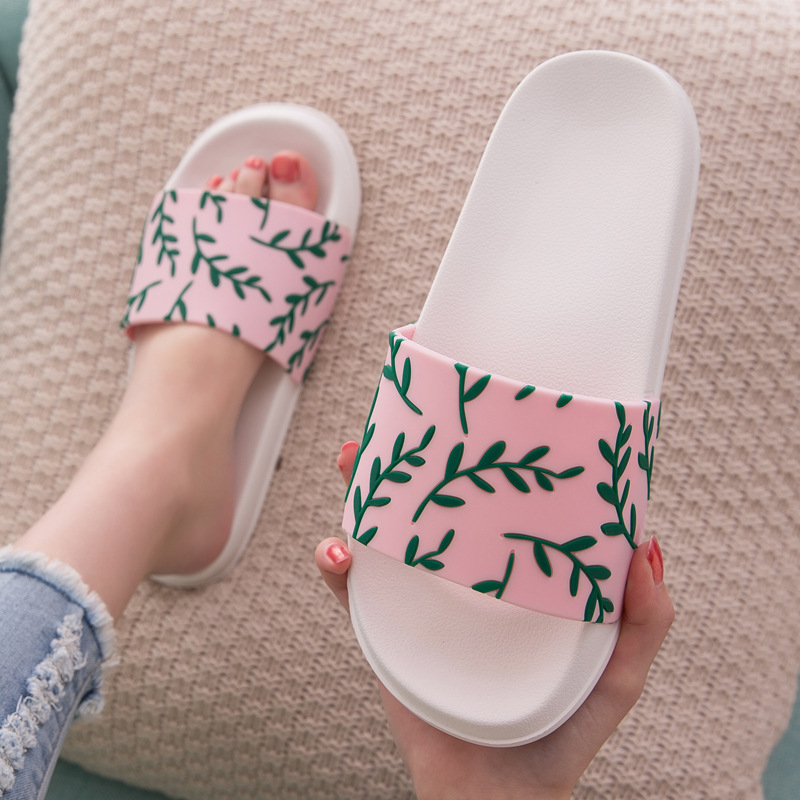 Summer Womne Indoor Slippers Home Thick Soft Sole Plant Print Non Slip Bathroom Shower Slides 2020 Ladies Shoes Men Couple House