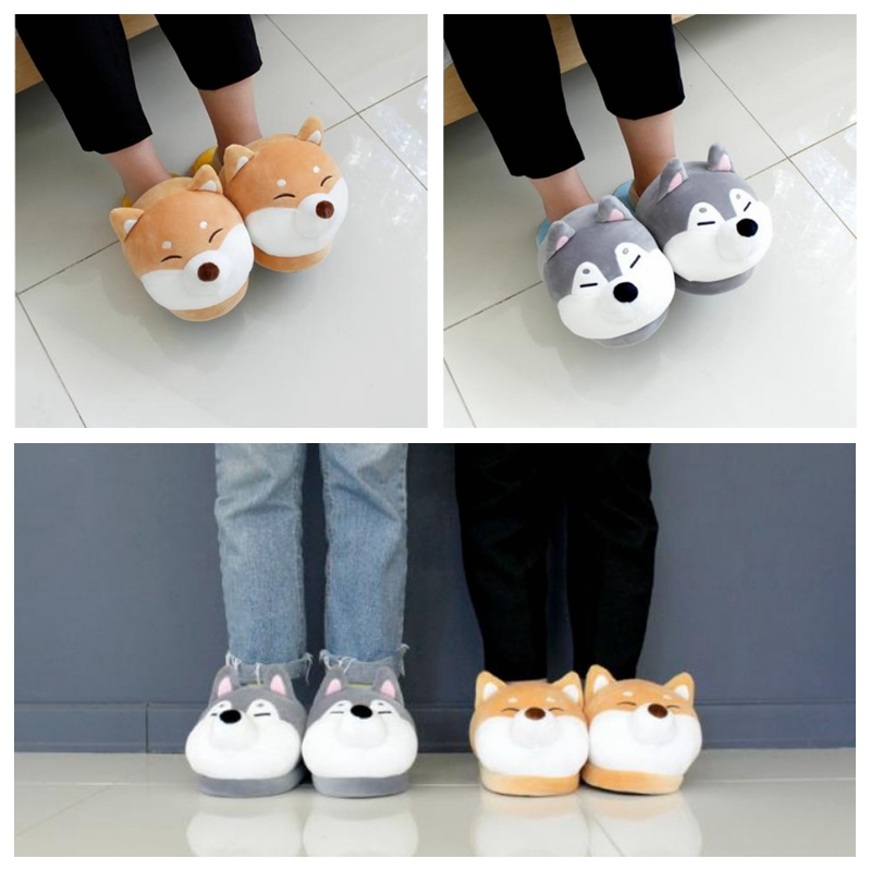 1pc Cut Dog SlippersCute Keji Dog Slippers Huskies Slippers Home Couple Slippers Cute Dog Indoor Slippers Cotton Animal Slipper
