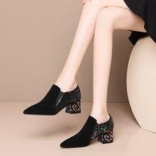 Женские замшевые туфли лодочки osunlina с острым носком на высоком