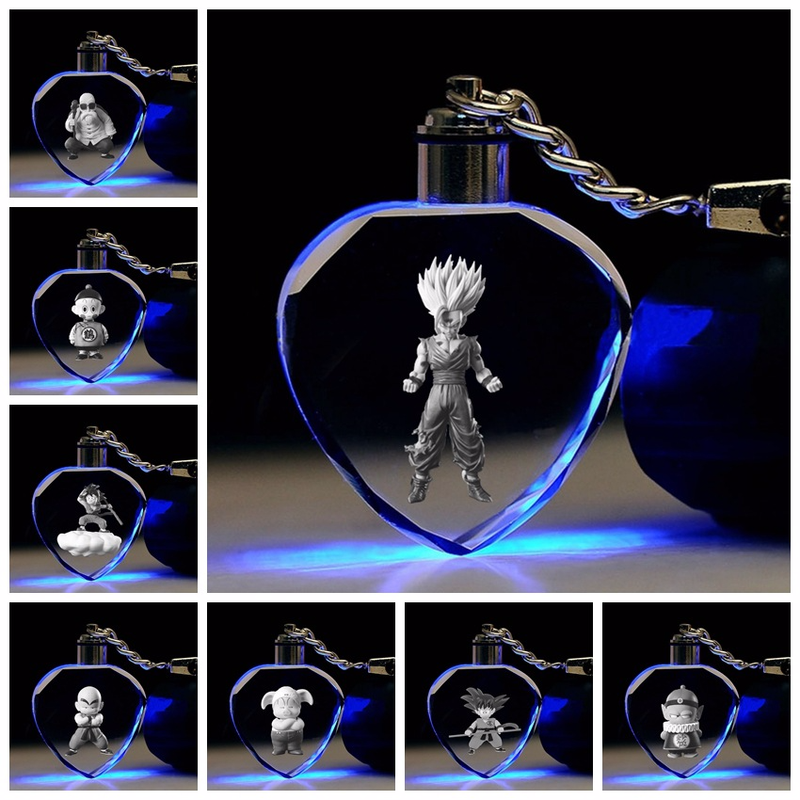 Anime Dragon Ball Key Chain Son Goku Master Roshi Tien Shinhan Kuririn Vegeta Heart Shaped Crystal Keychain Cute Funny Cartoon