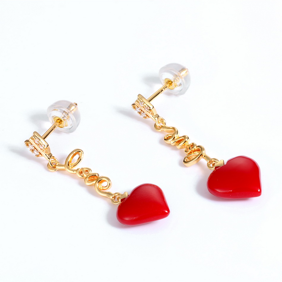 ALLNOEL Real 925 Sterling Silver 9K Gold synthetic coral Heart Pendant Earrings  Jewelry Gift For Women Fine Jewelry 2019 NEW (5)
