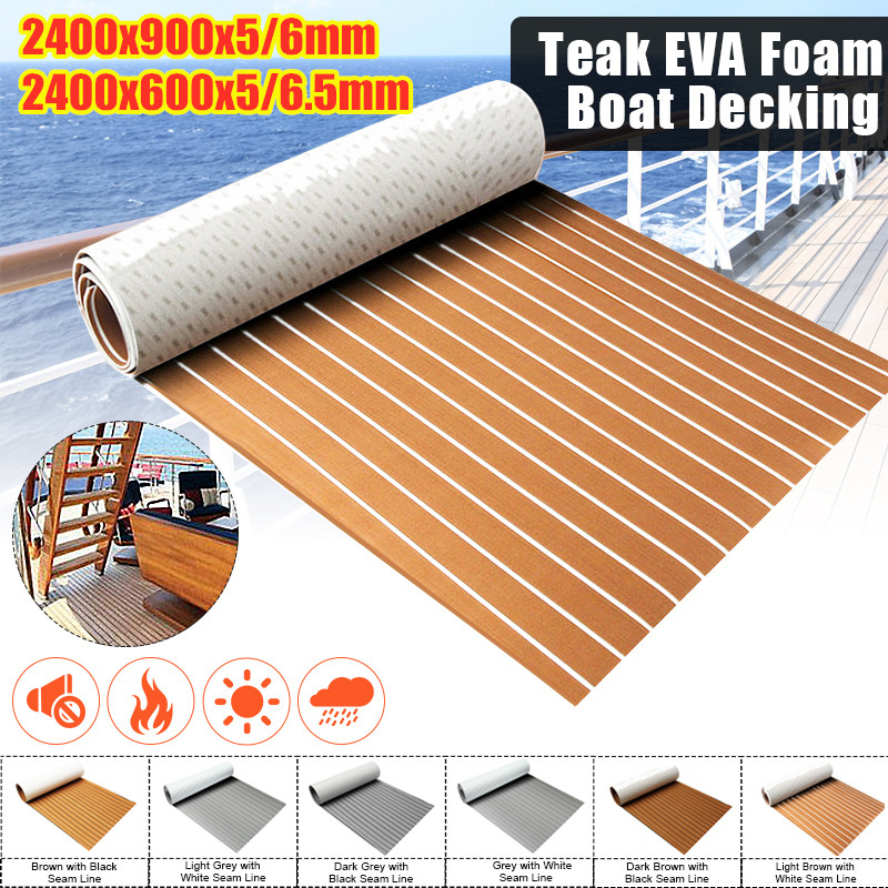 8 видов стилей 2400 мм самоклеящийся настил из вспененного этилвинилацетата, искусственный Тиковый синтетический настил для лодки, коричневы...