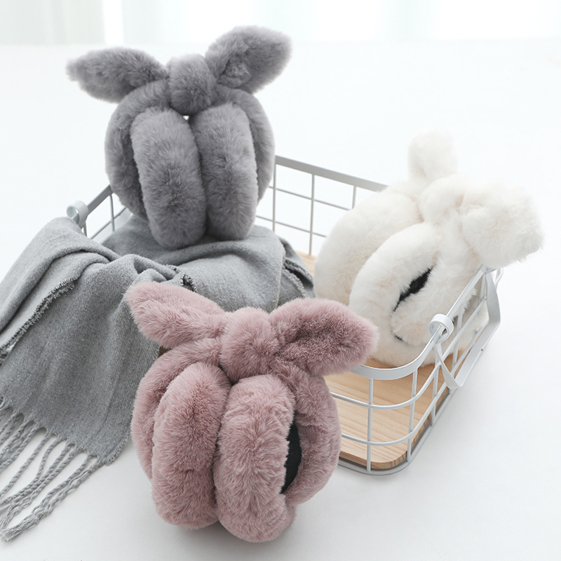 Cute Rabbit Ears Bow Earmuffs Plush Bow Ears Folding Earmuffs Ear Cover Plus Warm Earmuffs Women's Girls Winter Warm Protection
