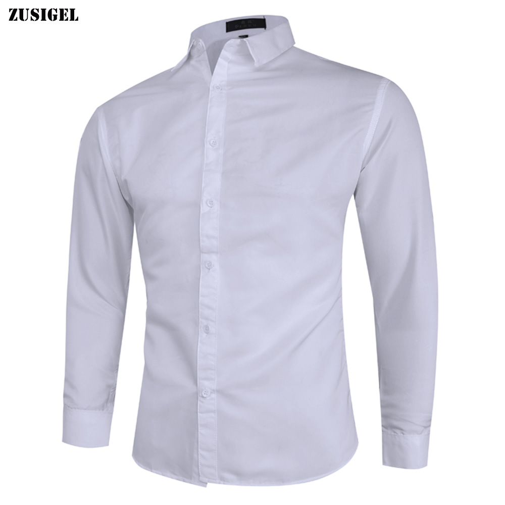 ZUSIGEL 2019 Smart Casual Solid Long Sleeve White Shirt Men Single Breasted Collar Slim Fit Shirt Youth Fashion Mens Shirts