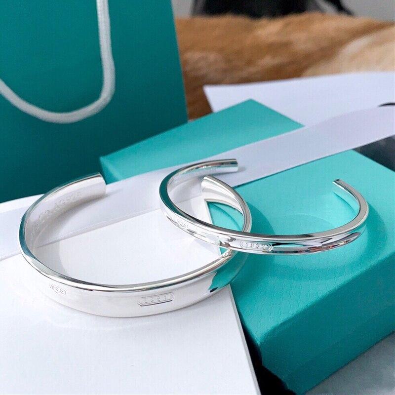 Trendy Open Bracelets Bangles S925 Sterling Silver for Women Girl Ladies Birthday Valentine Gift Hot Fashion 1:1 Brand Jewelry