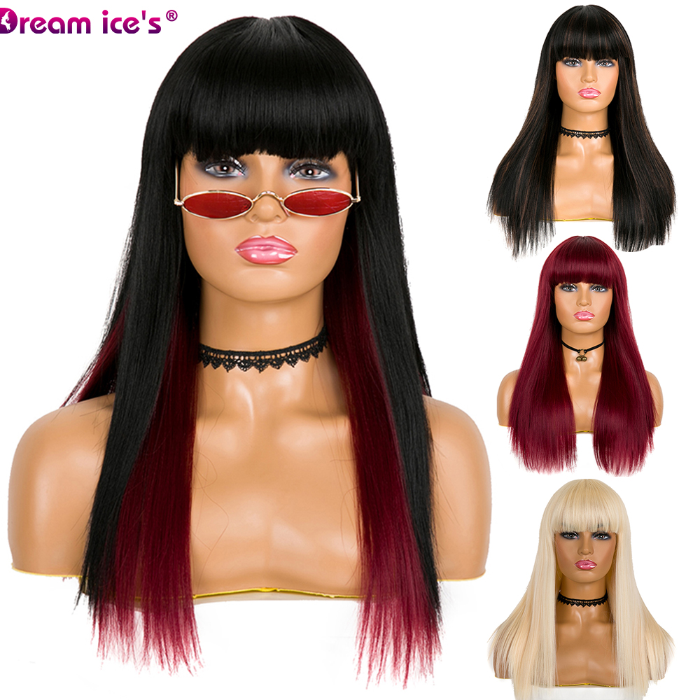 Dream Ice's Long Straight Wig With Bangs Brown Blonde Synthetic Hair Wigs For Black Women Heat Resistant Fiber Cosplay Wig