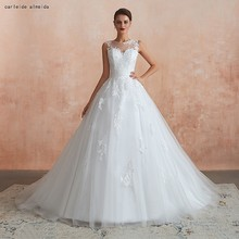 Soft Tulle Ball Gown Wedding Dress with Unique Lace Appliques 50CM Tail Cheap Bride 2019