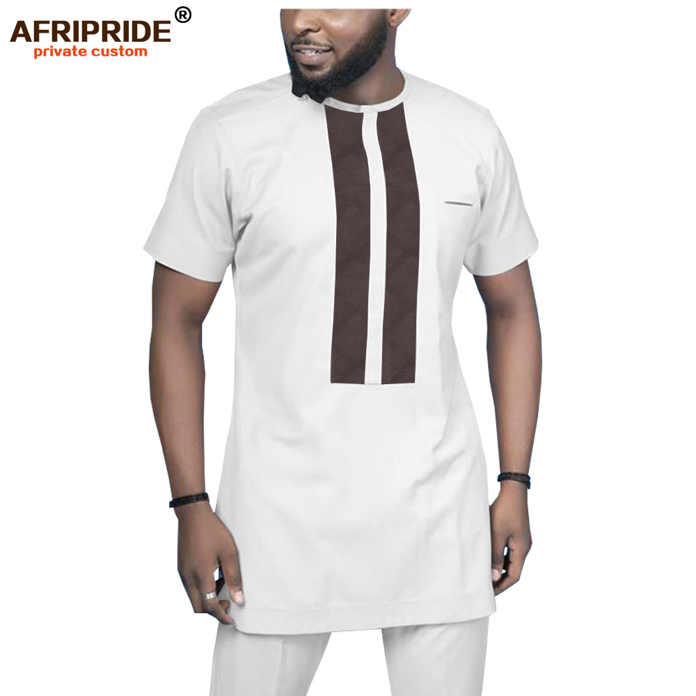 2019 African Men Shirt And Pants 2 Piece Set Dashiki Clothing Ankara Short Sleeve Blouse Tracksuit Wear Tops AFRIPRIDE A1916041