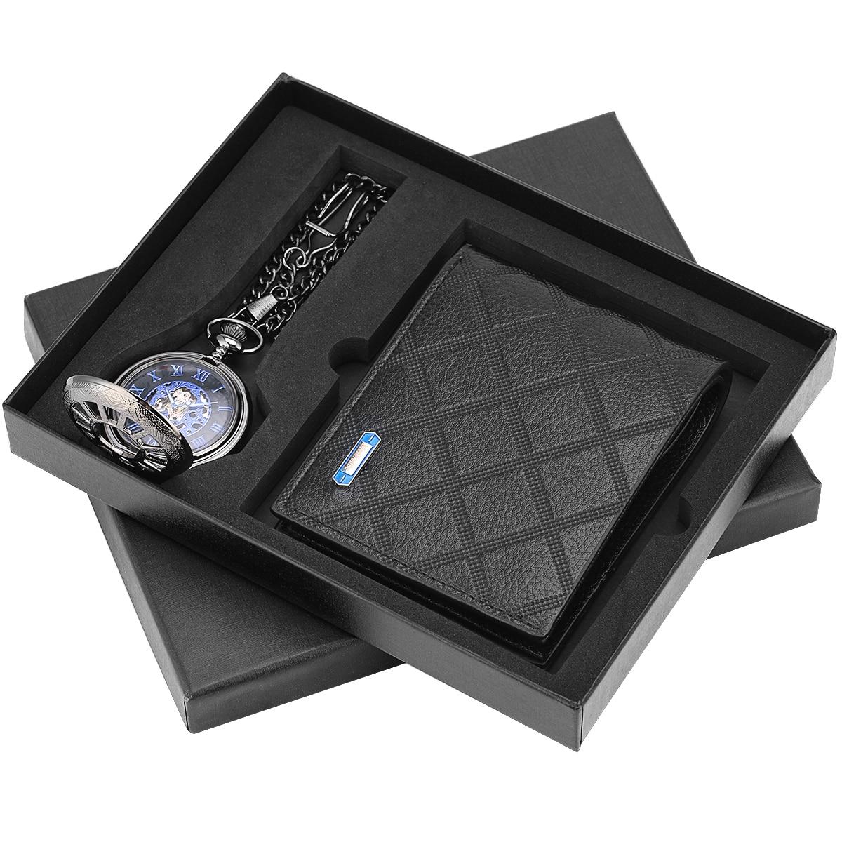 Relógio de Bolso Nova Chegada Bolso Carteira Presente Conjunto Antigo Mecânico Pingente Fob Relógios Negócios Masculino Marido Pai Presentes Natal