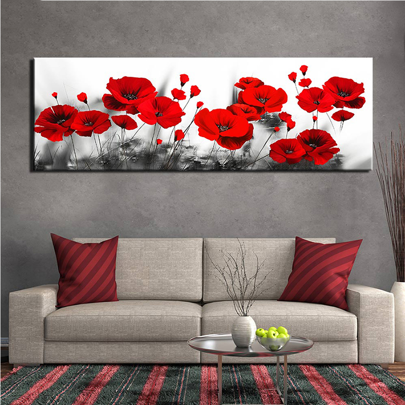 5d diy diamond painting abstract red Poppy full square round drill diamond embroidery rhinestones painting kit large home decor