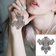 Indian Henna Mandala Fake Black Flower Temporary Tattoo Sticker Body Art Makeup Totem Chest Hands Custom Tattoo for Woman Female(China)
